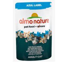 Almo Cat Nat.mačka kaps Azul Label kura + sardinky 70g